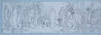composition study for the syracusan bride leading wild beasts in procession to the temple of diana by lord frederick leighton