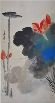 a chinese painting of lotus, signed zhang da qian by zhang daqian