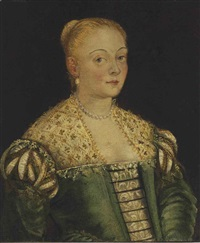 portrait of a young lady, half-length, in a green dress by jacopo robusti tintoretto