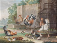 parklandschaft mit hühnern, truthahn, hasen und meerschweinchen vor einer parkmauer (+ another, similar, watercolor on paper laid on metal; 2 works) by melchior de hondecoeter