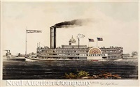 high pressure steamboat mayflower. first class packet between st. louis and new orleans on the mississippi river. capt. joseph brown. by nathaniel currier