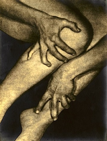 untitled hands clutching ankle and calf by alexander alland