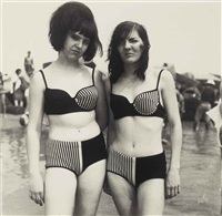 two girls in matching bathing suits, coney island, n.y. by diane arbus