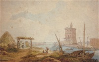 fishermen near the tower of belem, by lisbon by henri lévêque
