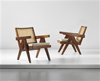 easy armchairs, model no. pj-si-29-a, designed for the administrative buildings, chandigarh (pair) by pierre jeanneret