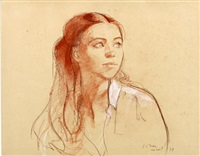 portrait of a young lady (study) by john ward