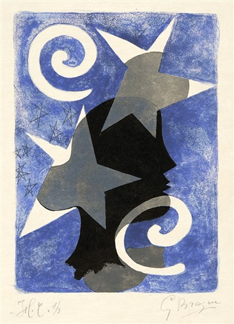 profil. - le couple, pl. 1 & 22 (2 works from lettera amorosa) by georges braque