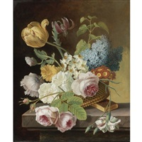 flower still life with roses, tulips, narcissi, and other flowers in a basket on a ledge by jan frans van dael