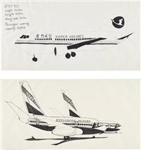 airplanes #21 (ethiopian) (+ airplanes #1 (xiamen airlines); 2 works) by aleksandra mir