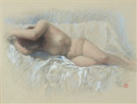 reclining nude by lee man fong