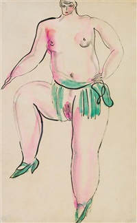 nude with green shoes by sanyu