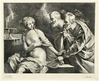 susanna und die beiden alten (after g. reni) by cornelis visscher