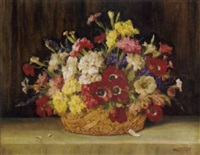 poppies, pansies, carnations and other mixed flowers in a basket on a ledge by j. voisard
