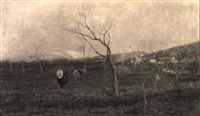 campagna veronese di primavera con contadine by vittorio avanzi