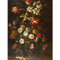 still life of flowers with morning glories, parrot tulips, roses, vines and other blooms by juan de arellano