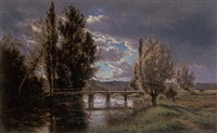 the old bridge, touraine by alexandre-charles-joseph gittard