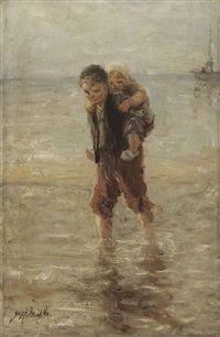 in the surf by jozef israëls