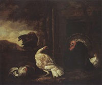 landscape with chickens, turkey and a rabbit by abraham de haen the elder