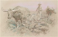 plowing the ricefield by lee man fong