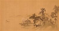 monastery on a rocky seashore by kano yasunobu