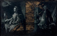 portrait d'un homme debout, appuyé, et portrait d'une femme assise, près d'une chandelle by jacopo amigoni
