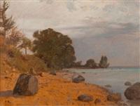 rivage du lac léman, côté savoie, par temps menaçant by francois-louis-david bocion