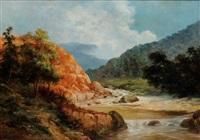 paisaje boscoso con río by cleofas almanza