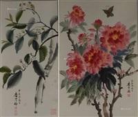画 二祯 立轴 纸本 (2 works) by li kemei