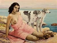 dívka s chrty by josef (kamenitzky) steiner