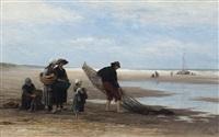 shrimpers on the beach at low tide, scheveningen by philip lodewijk jacob frederik sadée