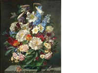 still life with roses, delphiniums, lilies and peonies by john e. nicholls