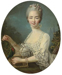 portrait of a lady, said to be mademoiselle de forges (collab. w/studio) by françois hubert drouais