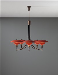 anchor five-armed chandelier, type 3/2 shades by poul henningsen