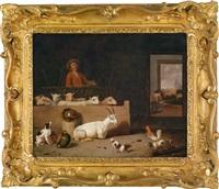 ein scheuneninterieur mit ziegen, hunden, federvieh und einem hirten, im hintergrund rechts ein ausblick auf eine stadt by hubert van ravesteyn