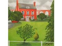 a study of a manor house with a viaduct beyond, thought to be new mills house, ledbury by mary adshead