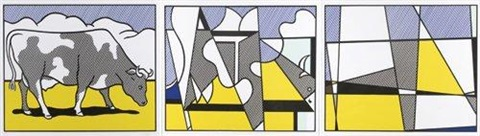 cow going abstract triptych by roy lichtenstein