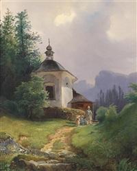 kapelle auf dem kalvarienberge in der lahn bei hailstadt (hallstatt) by josef holzer
