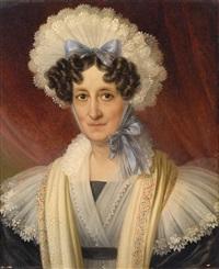 portrait einer dame mit spitzenhaube by johann nepomuk ender