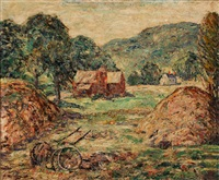 new england farm scene by ernest lawson