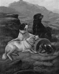 gundogs guarding the bag by walter andrew