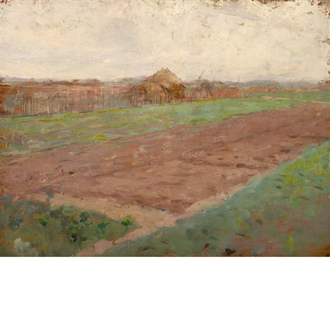 planting fields and riverbed double sided by theodore robinson