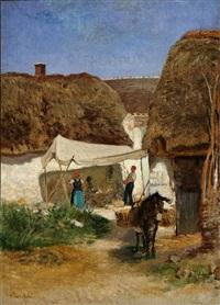 cottage scene by albert heinrich brendel