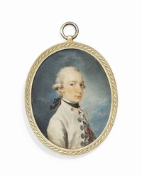 francis i (1768-1835), emperor of austria, when archduke, in white coat, with red collar, black stock and white lace jabot wearing the jewel of the order of the golden fleece by friedrich heinrich füger