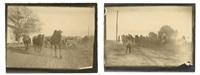 voyage au turkestan. face aux chameaux en liberté sur la grande route. après le passage du troupeau, à contre-jour (2 works) by paul nadar