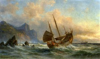 "the chinese junk ""peking"" off a coast in chinese waters by fritz siegfried george melbye"