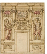 design for a wall decoration in a palace by fabrizio boschi