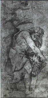 hercules and the lion by piero pollaiuolo