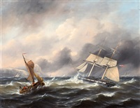 tweemaster en vissersboot voor engelse rotskust by govert van emmerik