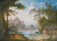 two river landscapes: a) with men by a shed; b) with ladies gathering flowers (2 works) by pierre antoine patel