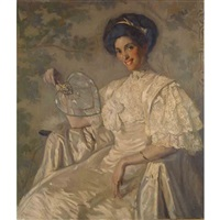 portrait of jeanette farren seated and holding a fan by philip leslie hale